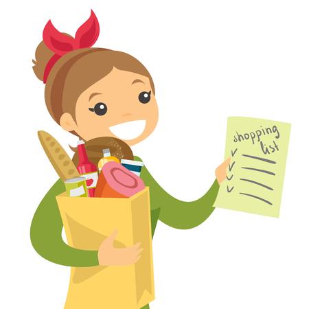 Mujer blanca caucásica joven que controla la lista de compras en el colmado. Mujer sonriente que sostiene la lista de compras y la bolsa de papel con los productos. Ilustración de dibujos animados de vectores aislado sobre fondo blanco.