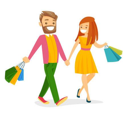 Caucasian white couple walking with colorful shopping bags. Young woman and man having fun while doing shopping together. Vector cartoon illustration isolated on white background. Square layout.