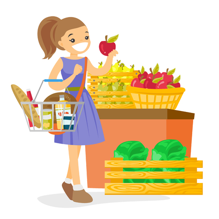 Young caucasian white woman holding basket with some products in it. Woman buying products at the supermarket and putting them into the shopping basket. Vector cartoon illustration. Square layout.
