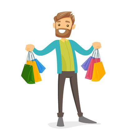 Consumidor blanco caucásico feliz llevando bolsas de compras. Hombre joven que sostiene muchas bolsas de compras. Chico mostrando sus compras. Ilustración de dibujos animados de vectores aislado sobre fondo blanco. Diseño cuadrado. Ilustración de vector