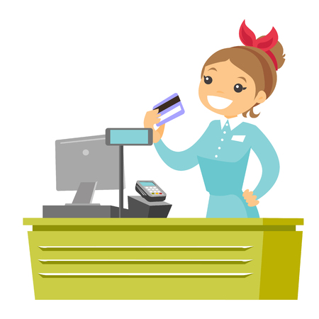 Young caucasian white cashier holding credit card at the checkout in supermarket. Female cashier working at the cash register. Vector cartoon illustration isolated on white background. Square layout. Illustration