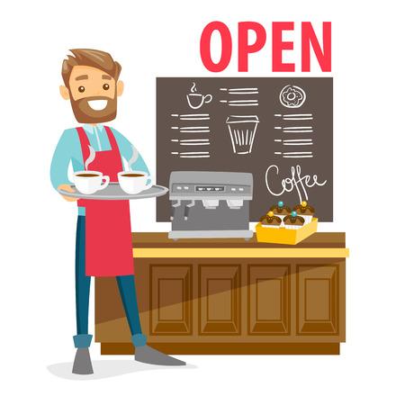 Giovane barista bianco caucasico che sta davanti al contatore con la macchina del caffè nella caffetteria. Cocept di piccole imprese. Illustrazione del fumetto di vettore isolata su fondo bianco. Pianta quadrata.