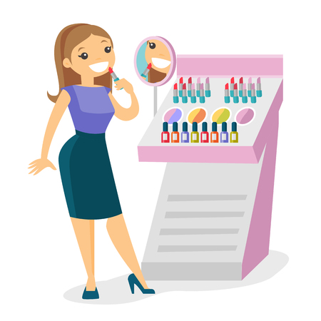 Young caucasian white woman buying lipstick in a beauty store. Woman testing and choosing lipstick at cosmetics shop. Vector cartoon illustration isolated on white background. Square layout.