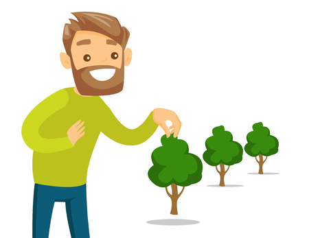 Young caucasian white gardener plants a tree. Cheerful man standing near newly planted trees. Environmental protection, gardening concept. Vector cartoon illustration isolated on white background. Stock Illustratie