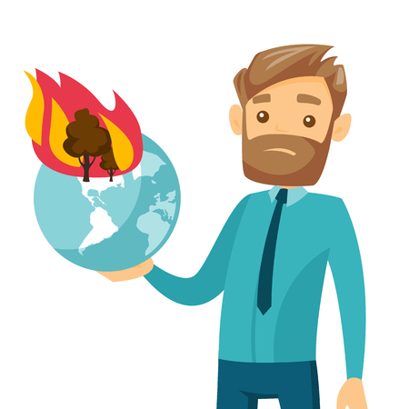 Young caucasian white man holding globe with forest in fire. Concept of environmental destruction, wildfire, global warming. Vector cartoon illustration isolated on white background. Square layout.