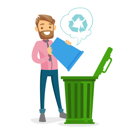 Young caucasian white hipster man with beard throwing out garbage from recycling bin into a trash can. Waste recycling concept. Vector cartoon illustration isolated on white background. Square layout.