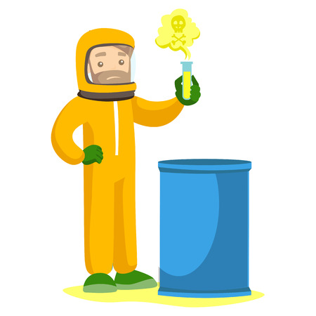 Young caucasian white scientist in radiation protective suit standing next to the barrel and holding a test tube with radioactive liquid. Vector cartoon illustration isolated on white background.