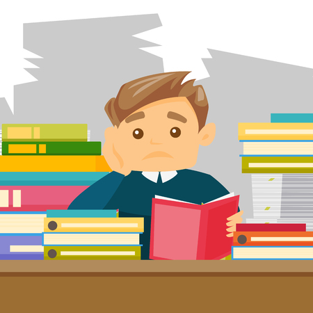 Caucasian white bored university student studying hard before the exams in the library. Sad teacher feeling stress from the checking of test of student. Vector cartoon illustration. Square layout. Çizim