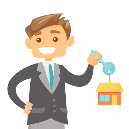 Young happy caucasian white owner holding key to his new house. Smiling buyer with keys and trinket in the shape of house. Vector cartoon illustration isolated on white background. Square layout.