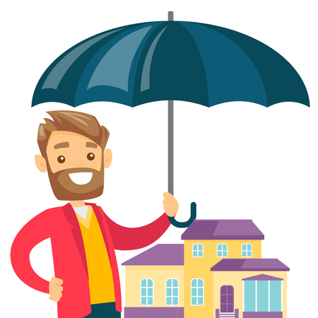 Young caucasian insurance agent holding an umbrella over the model of a house. Property insurance concept. Vector cartoon illustration isolated on white background. Illustration