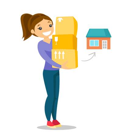 Young caucasian woman moving to a new house and carrying boxes. New homeowner concept Vector cartoon illustration isolated on white background.