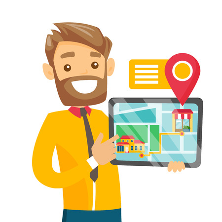 Caucasian real estate agent holding a tablet with mobile GPS navigation application showing the route from house to shop. Vector cartoon illustration.