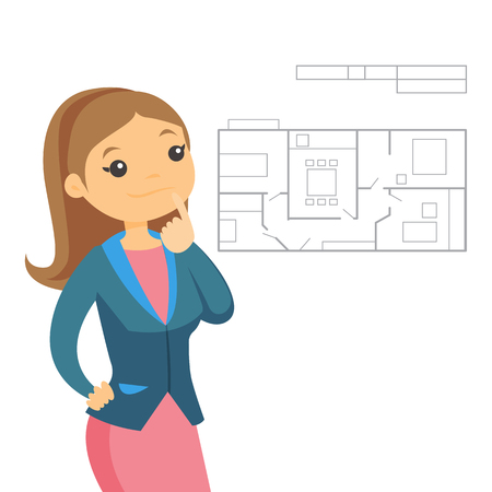 Young caucasian woman thinking about interior design on an apartment concept with blue print Vector cartoon illustration isolated on white background.