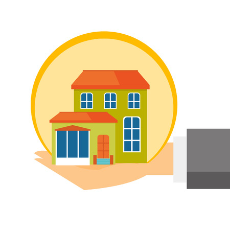 Human hand with a miniature house model on the palm of an insurance agent concept, vector cartoon illustration isolated on white background. Illustration