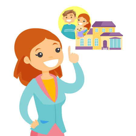 Young caucasian woman planning the future purchase of a family house, vector cartoon illustration isolated on white background. Illustration