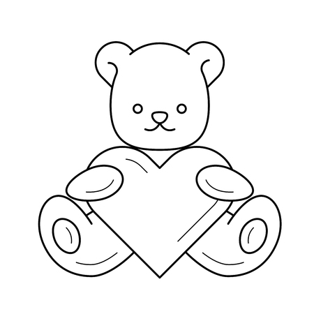 Gift vector line icon isolated on white background. Teddy bear with heart line icon for infographic, website or app.