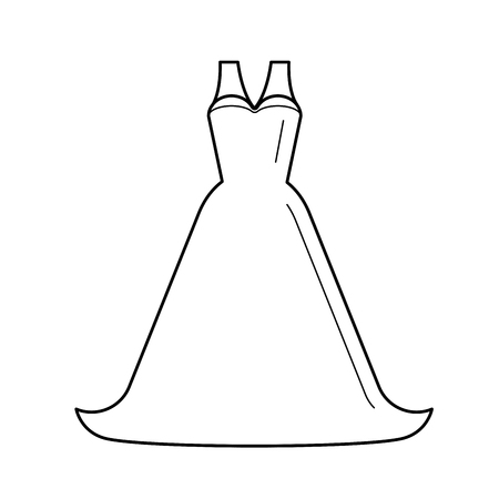 Bride dress line icon isolated on white background. Vector line icon of bride wedding dress for infographic, website or app. Illustration