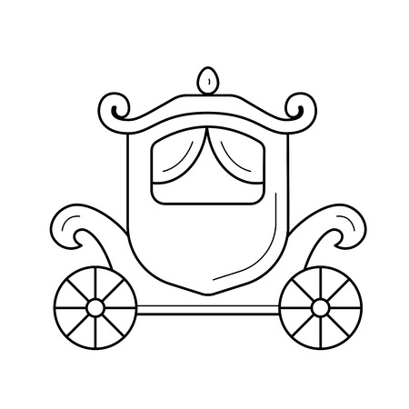 Vintage carriage line icon isolated on white background. Vector line icon of vintage carriage for wedding ceremony for infographic, website or app.