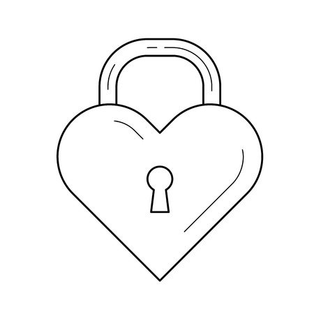 Heart lock vector line icon isolated on white background. Love lock in the shape of heart line icon for infographic, website or app. Banque d'images - 97714969
