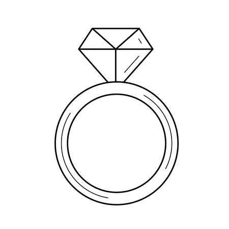 Diamond ring line icon isolated on white background. Vector line icon of jewelry - ring with a diamond for infographic, website or app.