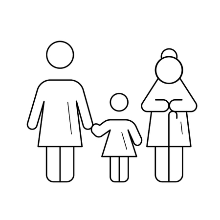 Family generation vector line icon isolated on white background. Three generation of family - grandmother, mother and daughter line icon for infographic, website or app.