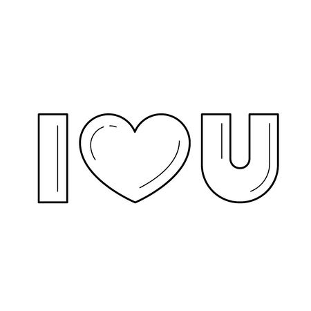 I love you vector line icon isolated on white background. Valentines day greeting card with text I love you line icon for infographic, website or app. Иллюстрация