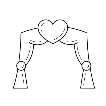 白い背景に隔離された結婚式のアーチラインのアイコン。インフォグラフィック、ウェブサイトやアプリのための心で飾られた結婚式のアーチのベ