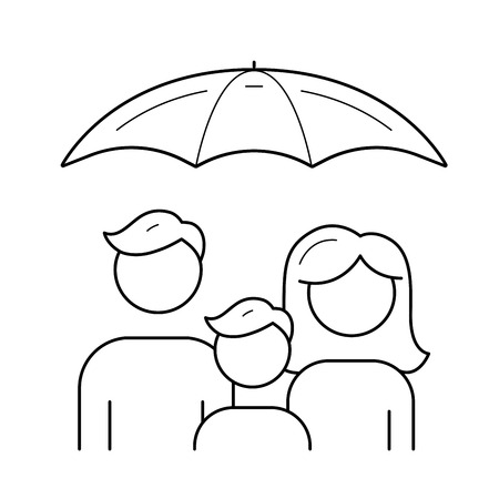 Family insurance vector line icon isolated on white background. Umbrella over family line icon for infographic, website or app. Life and health insurance concept.