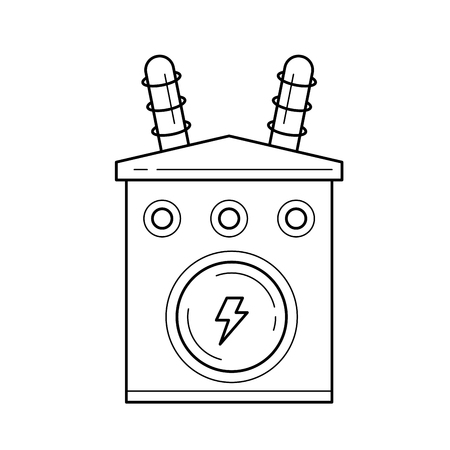 Electricity distribution vector line icon isolated on white background. Electric transformer line icon for infographic, website or app.