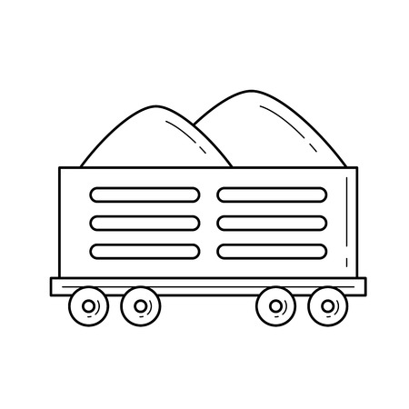 Railroad shipping vector line icon isolated on white background. Sand transportation by railroad line icon for infographic, website or app.
