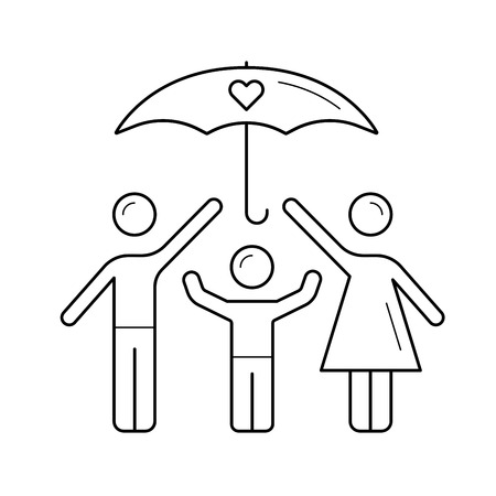 Family insurance vector line icon isolated on white background. Umbrella over family line icon for infographic, website or app. Insurance concept.