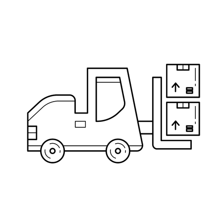 Forklift vector line icon isolated on white background. Warehouse forklift loading boxes line icon for infographic, website or app.