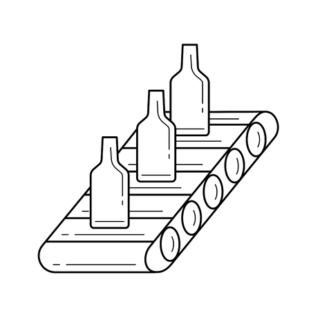Factory conveyor vector line icon isolated on white background. Bottles transporting on the factory automatic belt line icon for infographic, website or app.