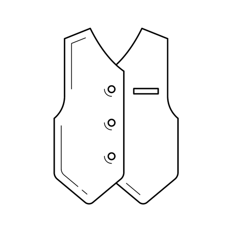 Groom clothing line icon isolated on white background. Vector line icon of waistcoat of a groom wedding suit for infographic, website or app. 矢量图像