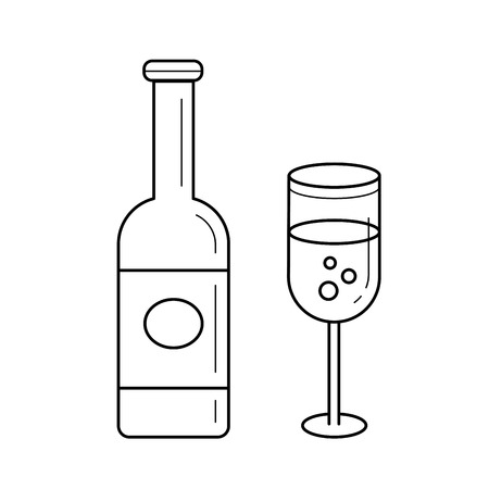 Sparkle wine bottle line icon isolated on white background. Vector line icon of bottle and glass of sparkle wine for infographic, website or app.