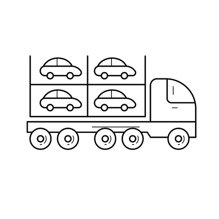 Car carrier vector line icon isolated on white background. Transportation of new cars on an auto transport carrier line icon for infographic, website or app. Illustration