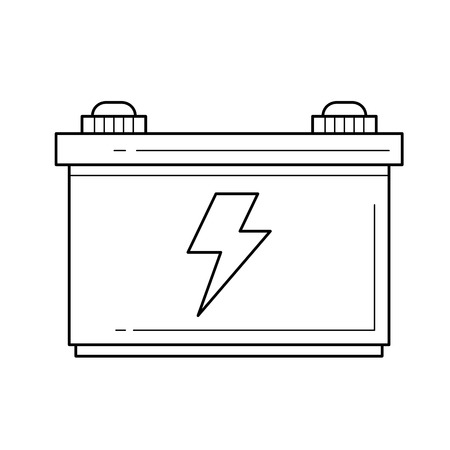 Car battery vector line icon isolated on white background. Accumulator or car battery line icon for infographic, website or app.