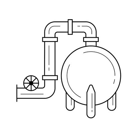 Gas refinery vector line icon isolated on white background. Industrial pipeline and the equipment of gas refinery line icon for infographic, website or app.
