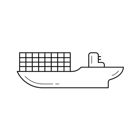 Cargo ship line icon isolated on white background. Vector line icon of ship with cargo containers for infographic, website or app. Illustration