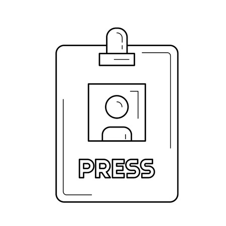 Press badge vector line icon isolated on white background. Press badge line icon for infographic, website or app. Icon designed on a grid system. Illustration