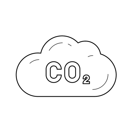 CO2 emission vector line icon isolated on white background. Carbon dioxide cloud line icon for infographic, website or app. Environment pollution and CO2 emission concept.