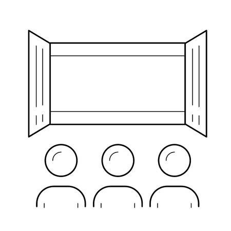 Movie theater vector line icon isolated on white background. Movie theater line icon for infographic, website or app. Icon designed on a grid system. Illusztráció