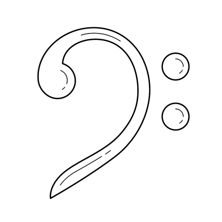 Bass clef vector line icon isolated on white background. Bass clef line icon for infographic, website or app. Icon designed on a grid system.