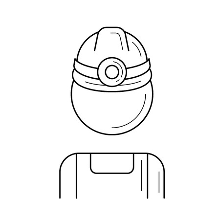Mine worker vector line icon isolated on white background. Vector line icon of mine worker in hard hat with flashlight for infographic, website or app.  イラスト・ベクター素材