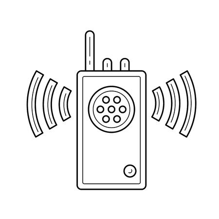 Icône de ligne de talkie-walkie isolé sur fond blanc. Icône de ligne de vecteur de radio portable - talkie-walkie pour infographie, site Web ou application. Banque d'images - 97776835