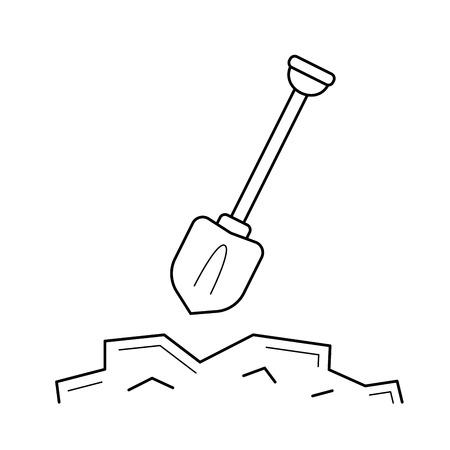 Mining shovel line icon isolated on white background. Vector line icon of shovel for mining for infographic, website or app.