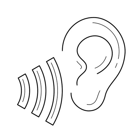 Human ear listen symbol vector line icon isolated on white background. Listen symbol line icon for infographic, website or app. Icon designed on a grid system. Ilustração