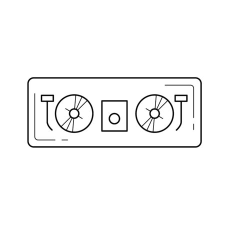 Dj controller vector line icon isolated on white background. Dj controller line icon for infographic, website or app. Icon designed on a grid system. Illustration