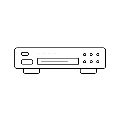 Dvd player vector line icon isolated on white background. Dvd player line icon for infographic, website or app. Icon designed on a grid system.