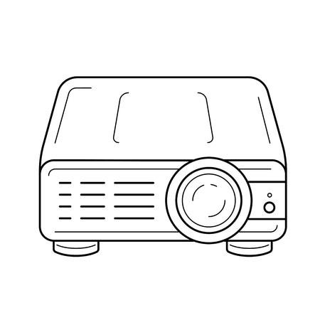 Projektor wideo wektor ikona linia na białym tle. Ikona linii projektora wideo dla infografiki, strony internetowej lub aplikacji. Ikona zaprojektowana w systemie grid.